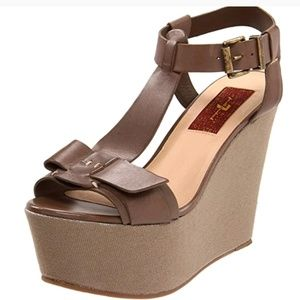 7 For All Mankind Kalistoga Wedge Sandals Grey